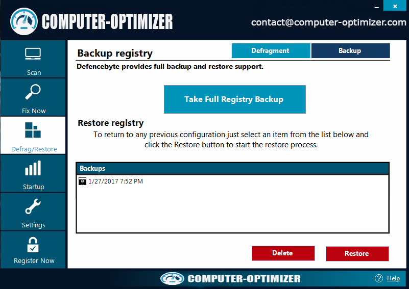 computer-ptimizer Create Windows Registry Backup